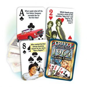1964 Trivia Challenge Playing Cards: Great 55th Birthday or Anniversary Gift
