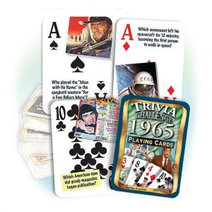 1965 Trivia Challenge Playing Cards: 54th Birthday or Anniversary Gift