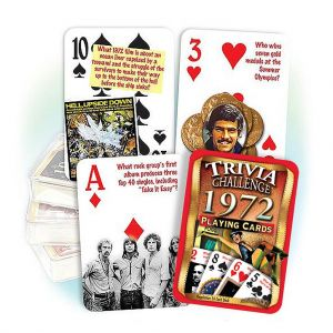 1972 Trivia Challenge Playing Cards: 47th Birthday or Anniversary Gift