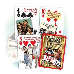 1977 Trivia Challenge Playing Cards: 42nd Birthday or Anniversary Gift