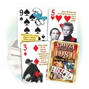 1981 Trivia Challenge Playing Cards: 38th Birthday or Anniversary Gift
