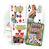 1958 Trivia Challenge Playing Cards: 63st Birthday or Anniversary Gift
