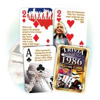 1986 Trivia Challenge Playing Cards: 35rd Birthday or Anniversary Gift