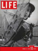 Life Magazine, March 27, 1939 - Woman with umbrella