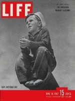 Life Magazine, June 16, 1947 - Boy in sailor hat sitting on pipe