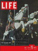 Life Magazine, July 7, 1947 - Girl riding Merry-Go-Round