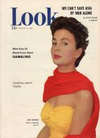 Look Magazine, January 16, 1951 - Jean Simmons in snappy red and yellow beach fashions