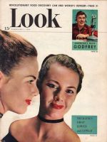 Look Magazine, February 1, 1949 - Woman modeling new lower necklines