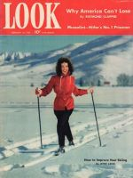 Look Magazine, February 10,1942 - Woman cross country skiing in flashy red coat