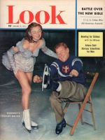 Look Magazine, February 10, 1953 - Arthur Godfrey putting on ice skates, with lovely skater Joan Walden