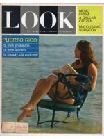 """Look Magazine, March 24, 1964 - Woman reading the book """"Post-historic man"""" while sitting in chair in the surf"""