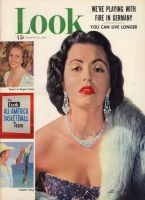 Look Magazine, March 27, 1951 - Lady in fancy evening ensemble, Faith Domergue