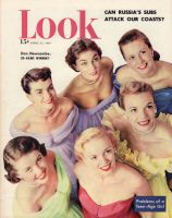 Look Magazine, April 11, 1950 - Six lovely ladies  all in strapless Beautime gowns
