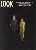 Look Magazine, April 18, 1944 - Man and woman walking against all black background