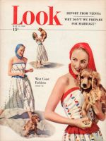 Look Magazine, May 11, 1948 - Woman in beach fashions with Spaniel dog