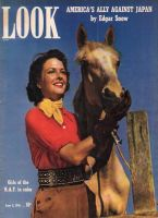 Look Magazine, June 3, 1941 - Jeanne Rankin and a palomino horse at Laguna Beach