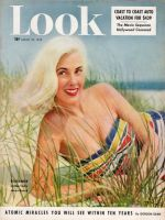 Look Magazine, August 25, 1953 - Very blond model, Roxanne, on beach in Jantzen swimsuit