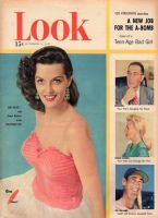 Look Magazine, October 9, 1951 - Jane Russell in lovely peach and white dress