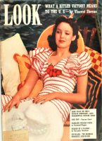 Look Magazine, August 13, 1940 - Linda Darnell laying back in a canoe