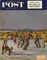 Saturday Evening Post, January 26, 1952 - Ice Skating on Pond