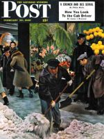 Saturday Evening Post, February 28, 1948 - Shoveling Floral Shop Sidewalk