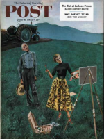 Saturday Evening Post, June 6, 1953 - Farmer and Female Artist in Field