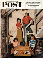 Saturday Evening Post, January 8, 1955 - Kittens in the Basement