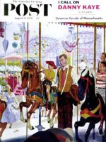 Saturday Evening Post, August 9, 1958 - Amusement Park Carousel