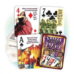 1944 Trivia Challenge Playing Cards: 75th Birthday or Anniversary Gift