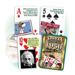 1950 Trivia Challenge Playing Cards: 69th Birthday or Anniversary Gift