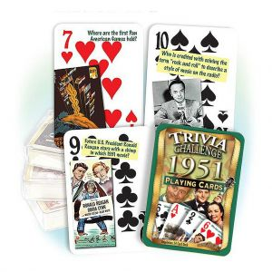 1951 Trivia Challenge Playing Cards: 70th Birthday or Anniversary Gift