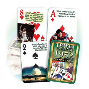 1952 Trivia Challenge Playing Cards: 67th Birthday or Anniversary Gift