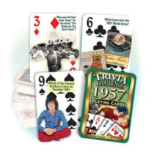 1957 Trivia Challenge Playing Cards: 62nd Birthday or Anniversary Gift