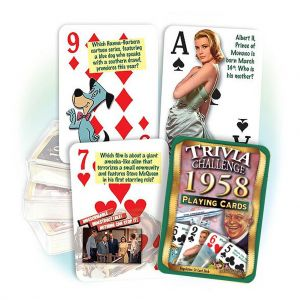 1958 Trivia Challenge Playing Cards: 61st Birthday or Anniversary Gift