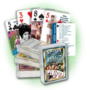 1967 Trivia Challenge Playing Cards: 52nd Birthday or Anniversary Gift
