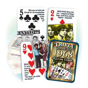 1968 Trivia Challenge Playing Cards: 51th Birthday or Anniversary Gift