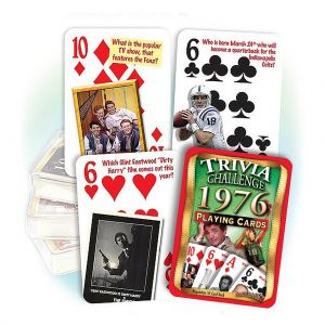 1976 Trivia Challenge Playing Cards: 43rd Birthday or Anniversary Gift